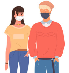 Young boy and girl are wearing medical masks vector