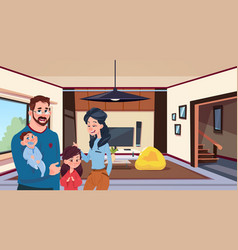 young family parents with two kids in modern vector image