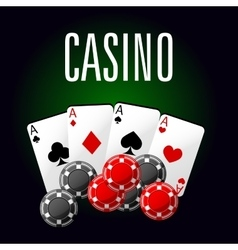 Casino club icon with four aces and gambling chips vector image vector image
