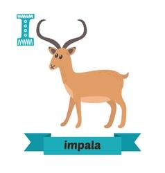 Impala I letter Cute children animal alphabet in vector image