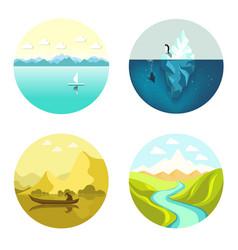 landscape icons flat set isolated on white vector image