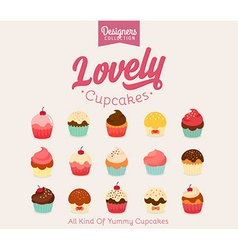 Lovely Cupcake Icon Set vector image