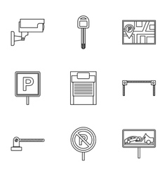 Parking icons set outline style vector image vector image