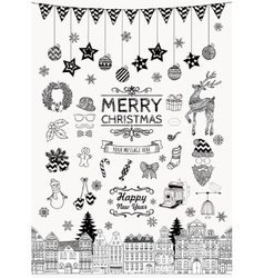 Set of Hand-drawn Outlined Christmas Doodle Icons vector image vector image