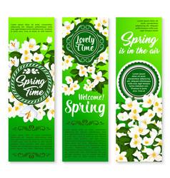 Spring holiday floral banner for springtime design vector