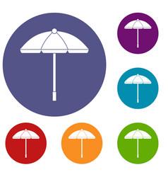 sun umbrella icons set vector image