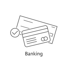 thin line bank check and credit card vector image vector image