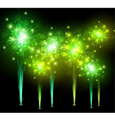 Festive green firework background vector image vector image