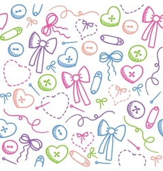 pattern with sewing elements vector image