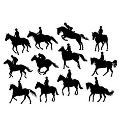 Set horse rider silhouettes vector image vector image