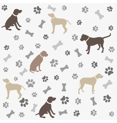 Background with dogs paw print and bone vector image vector image