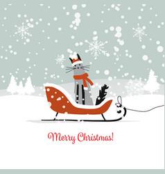 christmas card design sledge with santa cat vector image