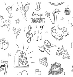 hand-drawn party icon pattern vector image vector image