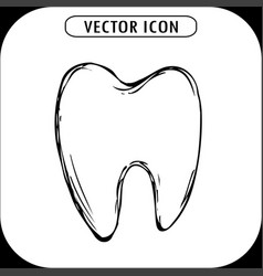 hand drawn tooth icon vector image vector image