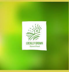 locally grown label at green backdrop vector image vector image