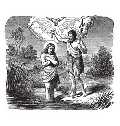 The baptism of jesus by john the baptist in the vector