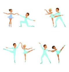 boy and girl ballet dancers vector image