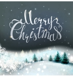 Christmas background with winter snowy landscape vector image