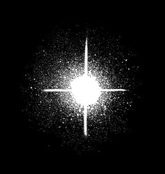 graffiti sprayed star shape in white on black vector image