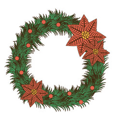 opaque color pine arch with poinsettia christmas vector image vector image