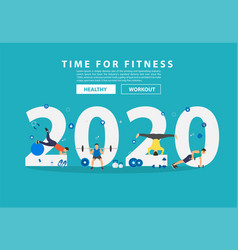 2020 new year fitness ideas concept man workout vector