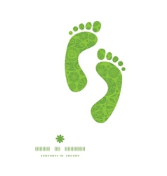 abstract green and white circles footprints vector image