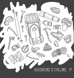 adventure is calling card with climbing equipment vector image