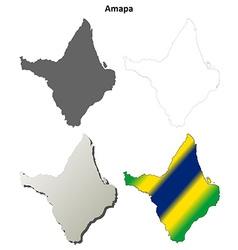 Amapa blank outline map set vector
