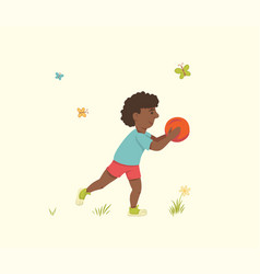 An african american boy with a basketball ball in vector