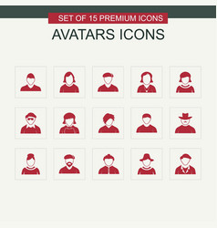 avataras icons set red vector image