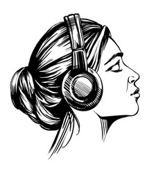 beautiful young girl listening to music on vector image