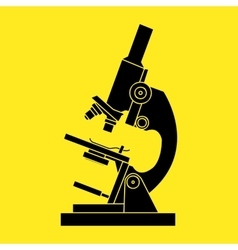 Black microscope icon on a yellow background - vector image