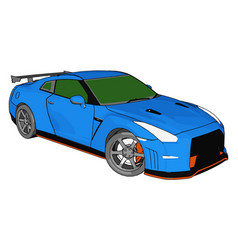 blue race car with green windows and orange vector image