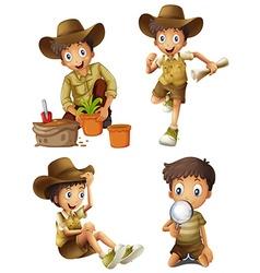 Boy doing different activities vector
