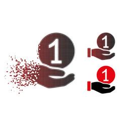 Broken pixel halftone one coin payment icon vector