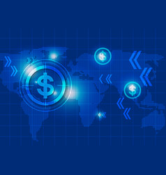 Business Blue Background with Dollar Signs and Map vector image