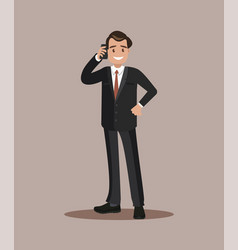 Businessman talking on the phone flat design vector