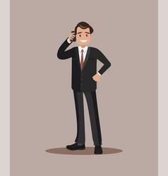 businessman talking on the phone flat design vector image