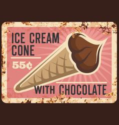 chocolate ice cream waffle cone rusty plate vector image