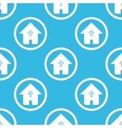 Christian house sign blue pattern vector