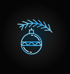 Christmas toy with tree blue line icon vector