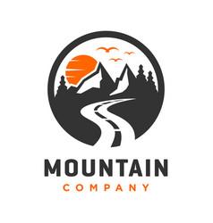 circular mountain landscape logo design vector image