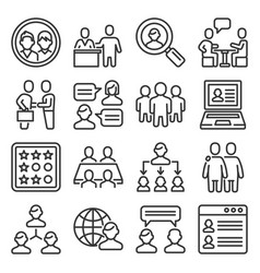clients and business people icons set line style vector image