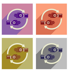 Concept of flat icons with long shadow hand coin vector