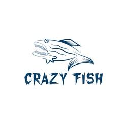 crazy fish cartoon mascot design template vector image