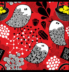 Creative red background with doodle birds vector