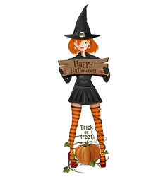 cute girl in a halloween witch costume vector image