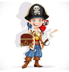 Cute pirate boy with red parrot hold treasure vector image