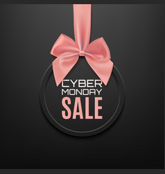 Cyber monday sale round banner with pink ribbon vector