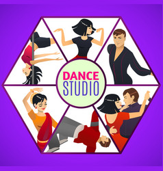 Dance studio template in cartoon style vector